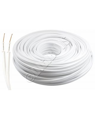 20M White DOUBLE x2 Sky Satellite Coax Digital Coaxial Aerial Cable SKY+ HD RG6