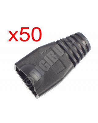50 x Black RJ45 CAT5eE CAT6 Boots Boot Cover Protector Connector