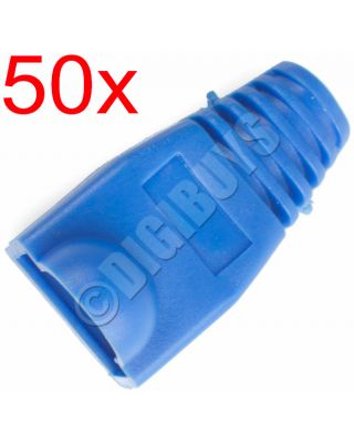 50 x Blue RJ45 CAT5eE CAT6 Boots Boot Cover Protector Connector