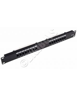 "16 Port Way 19"" CAT5e RJ45 UTP Patch Panel 1 U Rack Data Network Mount"