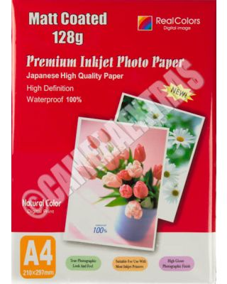 A4 Matte Matt Coated Premium Quality Inkjet Photo Paper 128GMS