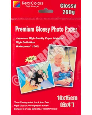 "10X15cm 6X4"" 260gms Quality Glossy Inkjet Photo Printer Paper 20 x Sheets"