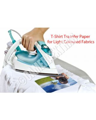 Iron On T-shirt Transfer Inkjet Printer Paper X 5 Sheets Light Fabrics