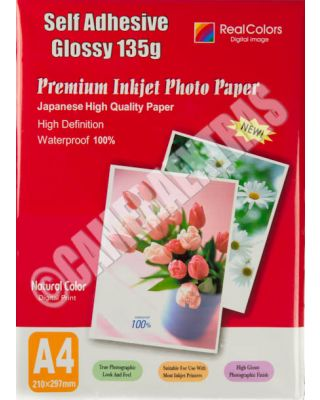 20 Sheets 135gms A4 Self Adhesive Glossy Photo Inkjet Paper Sticker Sticky