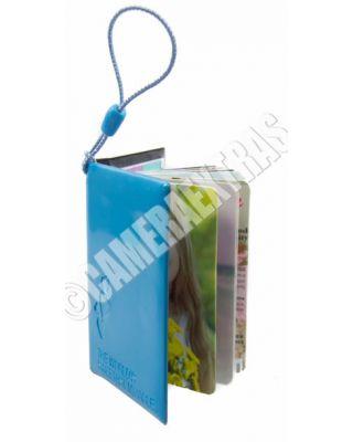 Square Pocket DIY PhotoBook Album Kit Keyring Photo Paper Charm Small Blue