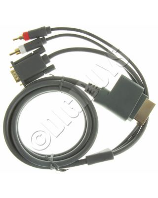 Xbox360 to VGA + 2 RCA Audio Video Component H D Cable Lead