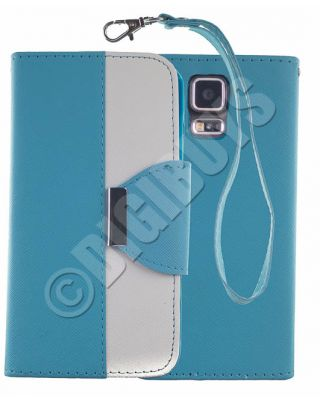 Dual Colour Leather Case Stand Wallet for Samsung Galaxy S5 -  Light Blue/White