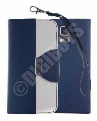 Dual Colour Leather Case Stand Wallet for Samsung Galaxy S5 -  Dark Blue/White