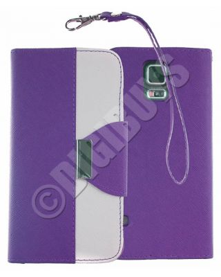 Dual Colour Leather Case Stand Wallet for Samsung Galaxy S5 -  Purple/White