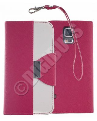 Dual Colour Leather Case Stand Wallet for Samsung Galaxy S5 -  Hot PinkWhite