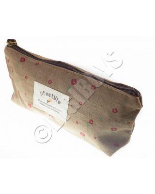 Floral Pencil Case Cosmetic Makeup Storage Bag Pouch Purse Coffee/Flower