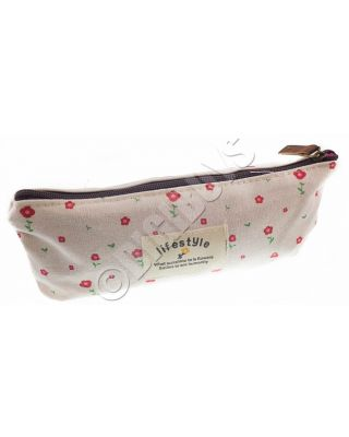 Floral Pencil Case Cosmetic Makeup Storage Bag Pouch Purse Red/Flower