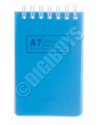 A7 Notebook Notepad Ring Spiral Bound School Office Waiter Reporter Pad - Blue