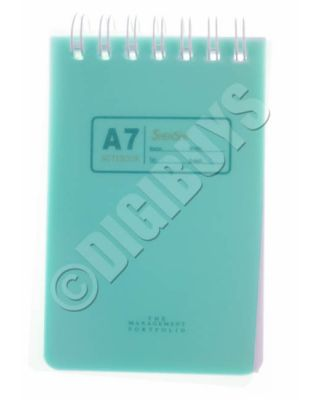 A7 Notebook Notepad Ring Spiral  Bound School Office Waiter Reporter Pad - Green