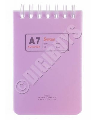 A7 Notebook Notepad Ring Spiral  Bound School Office Waiter Reporter Pad - Pink