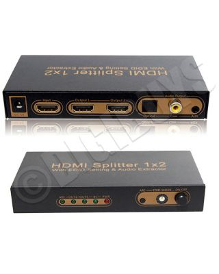 HDMI Splitter 1X2 Repeater Converter with ARC Audio Extractor EDID 2K 4K